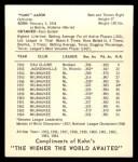 1965 Kahn's #1   Hank Aaron Back Thumbnail