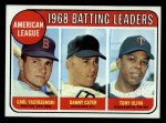 1969 Topps #1  1968 AL Batting Leaders  -  Carl Yastrzemski / Danny Cater / Tony Oliva Front Thumbnail