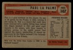 1954 Bowman #107   Paul LaPalme Back Thumbnail