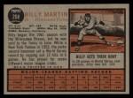 1962 Topps #208  Billy Martin  Back Thumbnail
