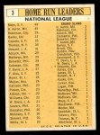 1963 Topps #3  1962 NL Home Run Leaders  -  Hank Aaron / Willie Mays / Frank Robinson / Ernie Banks / Orlando Cepeda Back Thumbnail