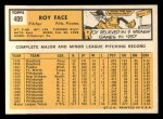 1963 Topps #409   Roy Face Back Thumbnail