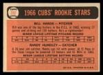 1966 Topps #392  Cubs Rookies  -  Bill Hands / Randy Hundley Back Thumbnail