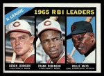 1966 Topps #219  NL RBI Leaders  -  Deron Johnson / Willie Mays / Frank Robinson Front Thumbnail