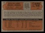 1972 Topps #137   Dick Williams Back Thumbnail