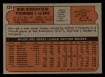 1972 Topps #429   Bob Robertson Back Thumbnail