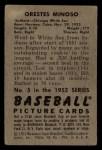 1952 Bowman #5  Minnie Minoso  Back Thumbnail