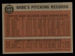 1962 Topps #143 GRN Greatest Sports Hero  -  Babe Ruth Back Thumbnail