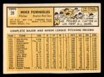 1963 Topps #28 COR Mike Fornieles  Back Thumbnail