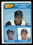 1965 Topps #12   -  Don Drysdale / Bob Gibson / Bob Veale NL Strikeout Leaders Front Thumbnail
