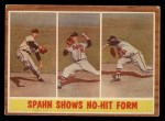 1962 Topps #312   -  Warren Spahn Spahn Shows No-Hit Form Front Thumbnail