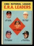 1963 Topps #5  1962 NL ERA Leaders  -  Sandy Koufax / Don Drysdale / Bob Gibson / Bob Shaw / Bob Purkey Front Thumbnail
