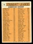 1963 Topps #10  1962 AL Strikeout Leaders  -  Jim Bunning / Camilo Pascual / Jim Kaat / Juan Pizarro / Ralph Terry Back Thumbnail