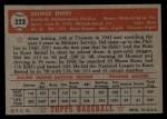 1952 Topps #223   Del Ennis Back Thumbnail