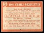 1964 Topps #281   -  Jake Gibbs / Tom Metcalf Yankees Rookies Back Thumbnail