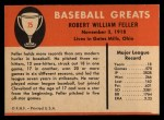 1961 Fleer #25  Bob Feller  Back Thumbnail