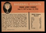 1961 Fleer #98  Frank Chance  Back Thumbnail