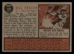 1962 Topps #335   Billy Bruton Back Thumbnail