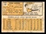 1963 Topps #163   Don Larsen Back Thumbnail
