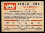 1960 Fleer #43   Paul Derringer Back Thumbnail