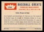 1960 Fleer #14  Connie Mack  Back Thumbnail