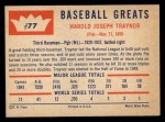1960 Fleer #77  Pie Traynor  Back Thumbnail