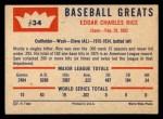 1960 Fleer #34  Sam Rice  Back Thumbnail