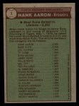 1976 Topps #1  Record Breaker  -  Hank Aaron Back Thumbnail