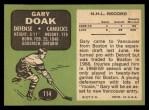 1970 Topps #114  Gary Doak  Back Thumbnail