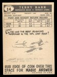 1959 Topps #14  Terry Barr  Back Thumbnail