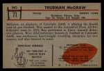 1953 Bowman #71  Thurman McGraw  Back Thumbnail
