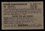 1952 Bowman Small #79  Bob Hoernschemeyer  Back Thumbnail