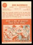 1963 Topps #17   Mike McCormack Back Thumbnail