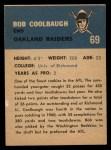 1962 Fleer #69  Bob Coolbaugh  Back Thumbnail