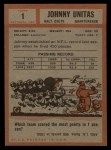 1962 Topps #1   Johnny Unitas Back Thumbnail