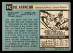 1964 Topps #143   Joe Krakoski Back Thumbnail