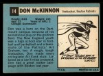 1964 Topps #14  Don McKinnon  Back Thumbnail