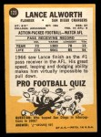 1967 Topps #123   Lance Alworth Back Thumbnail