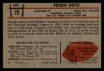 1953 Bowman #28   Tobin Rote Back Thumbnail