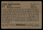 1952 Bowman Large #112  John Badaczewski  Back Thumbnail