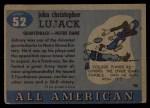 1955 #52  John Lujack  Back Thumbnail