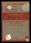 1965 Philadelphia #92  Ed Meador  Back Thumbnail