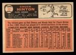 1966 Topps #391   Chuck Hinton Back Thumbnail