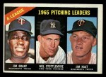 1966 Topps #224  1965 AL Pitching Leaders  -  Jim Grant / Jim Kaat / Mel Stottlemyre Front Thumbnail