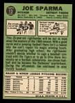 1967 Topps #13  Joe Sparma  Back Thumbnail