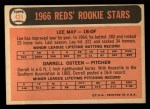 1966 Topps #424   -  Lee May / Darrell Osteen Reds Rookies Back Thumbnail