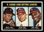 1967 Topps #240  1966 NL Batting Leaders  -  Felipe Alou / Matty Alou / Rico Carty Front Thumbnail