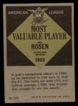 1961 Topps #474  Most Valuable Player  -  Al Rosen Back Thumbnail