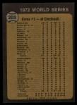 1973 Topps #203  1972 World Series - Game #1 - Tenace the Menace  -  Gene Tenace / George Hendrick / Johnny Bench Back Thumbnail