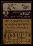 1973 Topps #16   Steve Braun Back Thumbnail